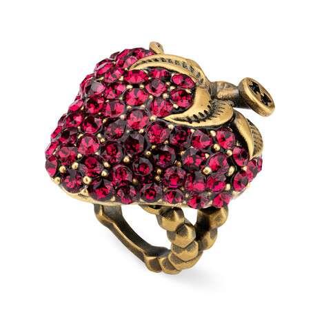 饰水晶草莓戒指
