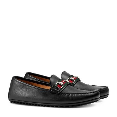 饰条纹织带皮革驾车鞋