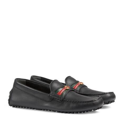 饰织带和互扣式双G男士驾车鞋