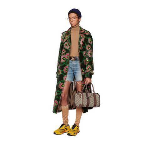 Disney x Gucci唐老鸭帖饰环保牛仔短裤