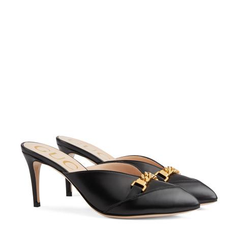 女士链条皮革穆勒鞋