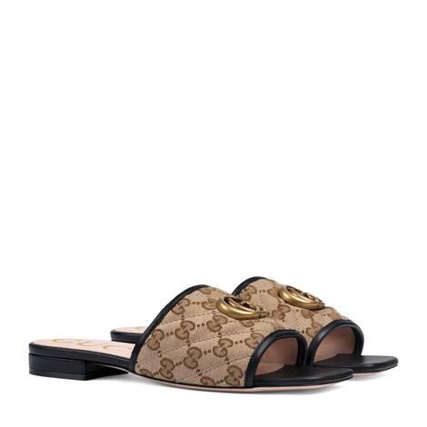 女士GG绗缝帆布凉拖鞋