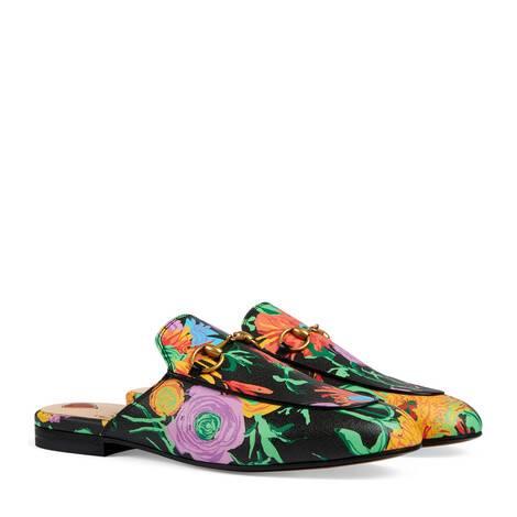 艺术家Ken Scott印花系列Princetown系列女士皮革拖鞋