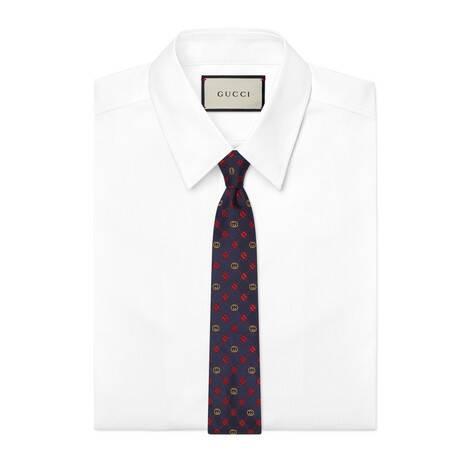 互扣式双G四叶草真丝领带