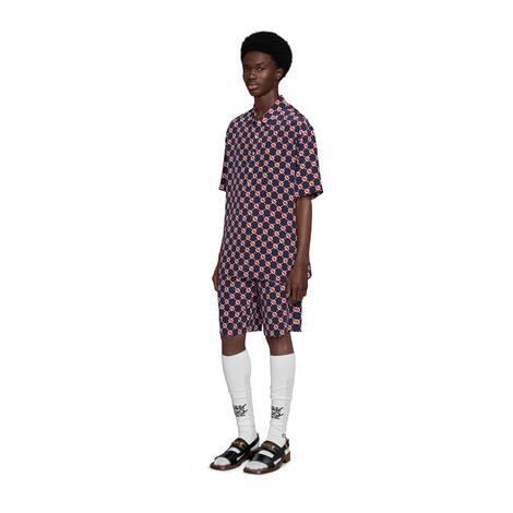 GG六边形双绉真丝保龄球衫