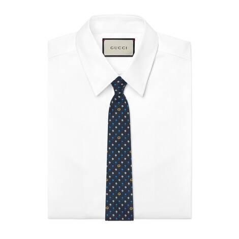 互扣式双G花朵真丝领带