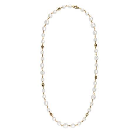 互扣式雙G花朵珍珠項鏈
