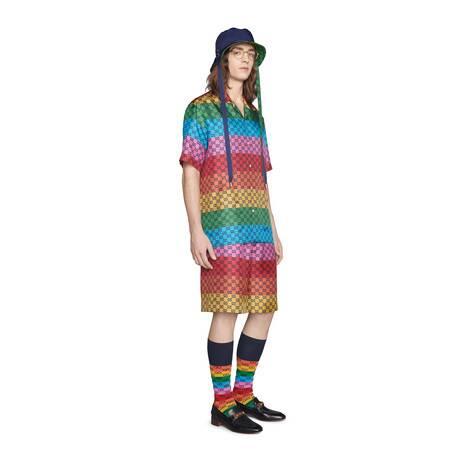 GG Multicolor系列斜纹真丝衬衫