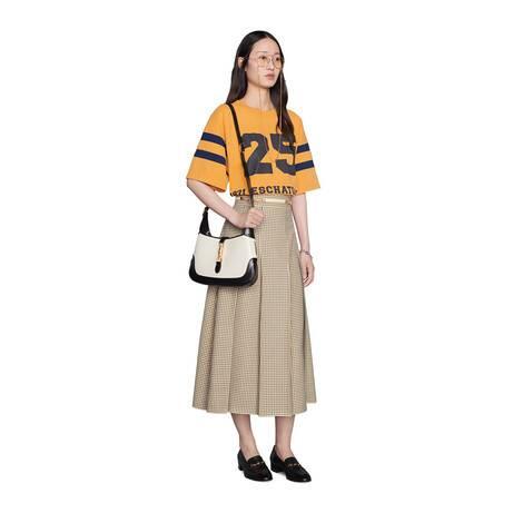 格纹羊毛褶裥半身裙