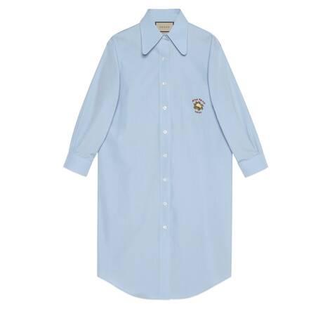 花椰菜刺绣长款衬衫