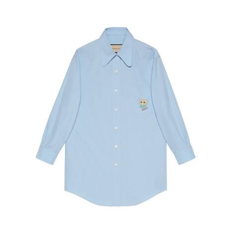 Gucci猫咪棉府绸衬衫