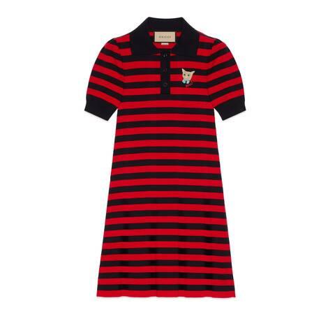 条纹针织棉Polo裙