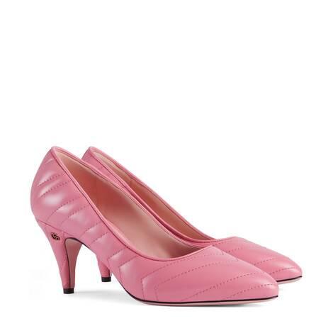 女士中跟绗缝浅口鞋