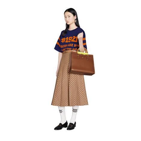 GG亚麻帆布褶裥半身裙
