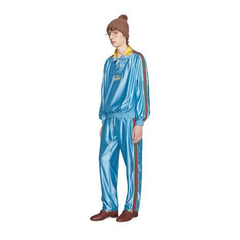 闪亮针织面料织带慢跑长裤