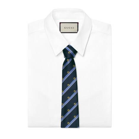 互扣式双G条纹真丝领带