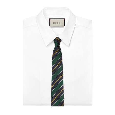 互扣式双G链带提花真丝领带