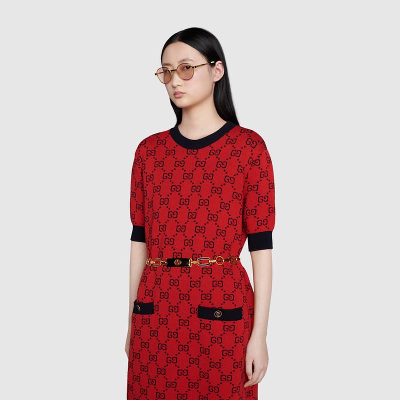 Gucci 古驰520特别系列双g提花棉毛混纺连衣裙 In Neutrals