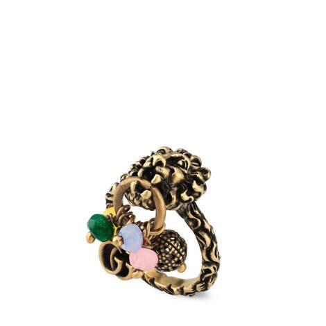 双G狮头珠粒戒指