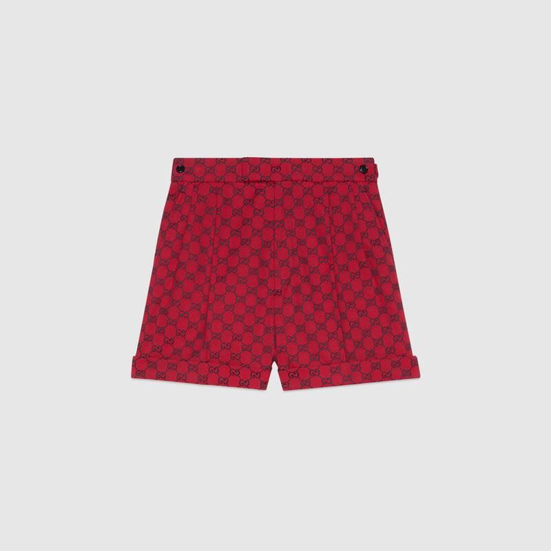 Gucci 古驰520特别系列双g帆布短裤 In Neutrals