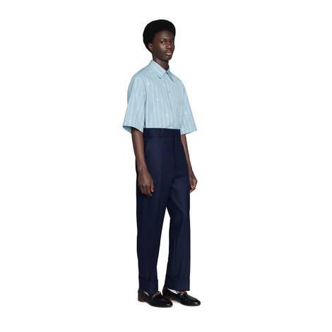 GG条纹箱型棉质衬衫