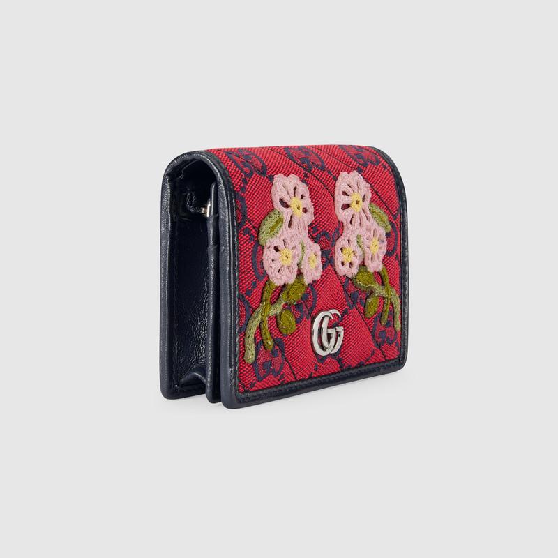 Gucci 古驰520特别系列花卉贴花卡包 In Burgundy