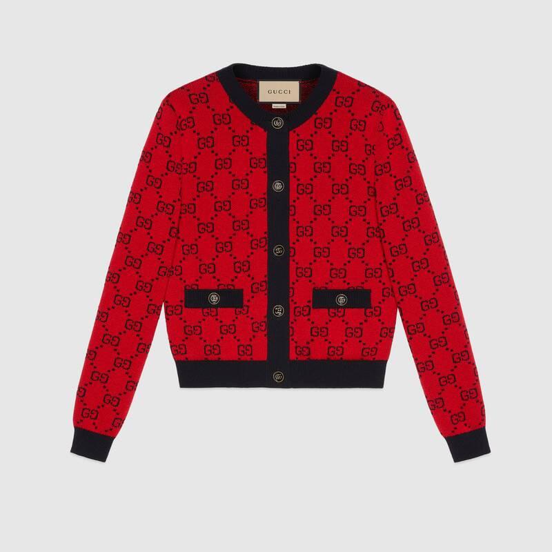 Gucci 古驰520特别系列双g提花棉毛混纺开衫 In Neutrals