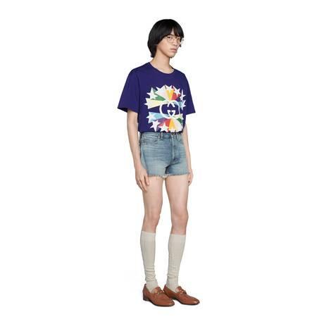 古驰520特别系列星爆印花棉质T恤