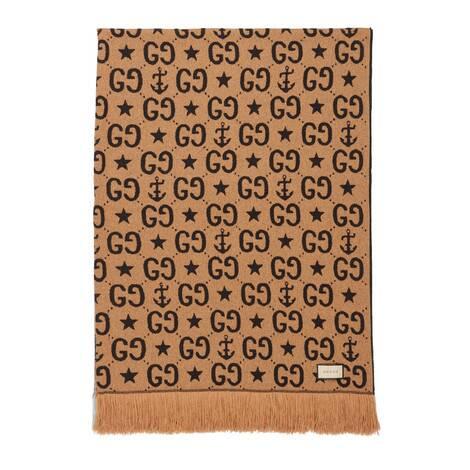 GG星星和船锚山羊绒真丝盖毯