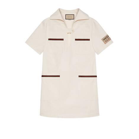 织带轻质针织棉连衣裙