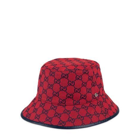 古驰520特别系列皮革滚边双G帆布渔夫帽