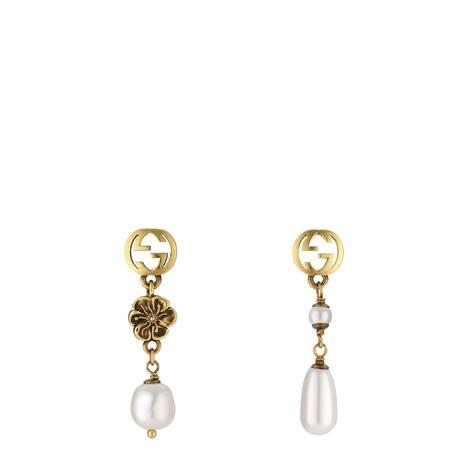 互扣式双G花朵珍珠耳环
