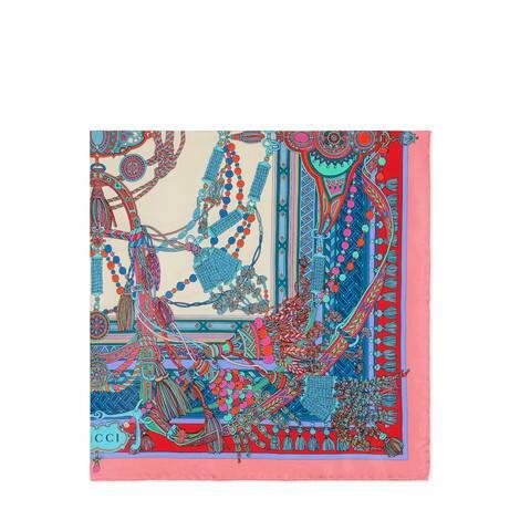 流苏和链条印花真丝围巾