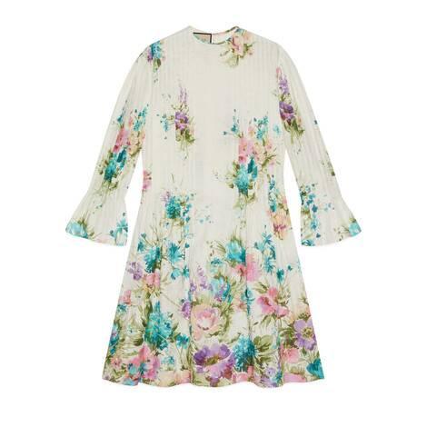 花卉印花亚麻连衣裙